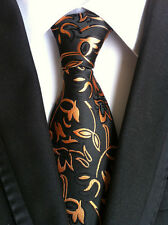 New Classic Paisley Gold Black JACQUARD WOVEN 100% Silk Men's Tie Necktie