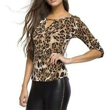 Sexy Leopard Blouse Women Long Sleeve Tops Pullover T-shirts V-neck Jumper S-XL