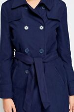 Womens BLUE BLACK NAVY Trench Mac Coat Double Breasted Belted Jacket Size 8-18