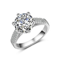 White Sapphire Band Women's 18K White Gold Filled Engagement Party Ring Size 4-9