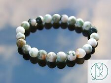 Tree Agate Natural Gemstone Bracelet 7-8'' Elasticated Healing Stone Chakra