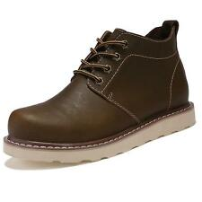 Mens Autumn Cow Leather Casual Lace Up Ankle  Chukka Boots Comfort Shoes