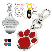 Cute Paw Print Personalised Dog Tags Disc Cat ID Tag Engraved Name for Free