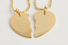PERSONALIZED GOLD BROKEN HEART PENDANT NECKLACE CUSTOM ENGRAVED FREE
