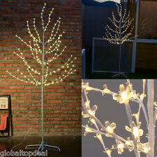 6ft White Cherry Blossom Christmas Xmas Tree Pre-Lit LED Lights Outdoor Garden