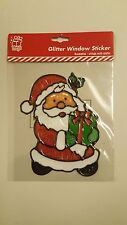 CHRISTMAS SANTA CLAUS SNOWMAN GLITTER WINDOW STICKERS DECORATION EASY TO USE