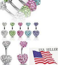 Multi Crystal Paved Gem CZ Double Heart Belly Button Bar Navel Naval Ring