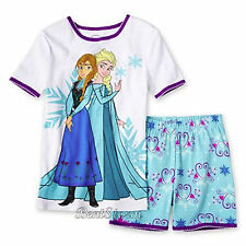 NEW Disney Girls Frozen ELSA ANNA  SISTERS Pajamas Two Piece Set Shirt Shorts