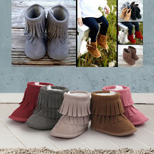 Soft Infant Boy Girl Baby Tassel Sole Cloth Cotton Boots Toddler Moccasin