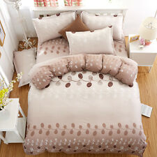 Zip Twin Queen King Bed Set Pillowcase Quilt Duvet Cover Brown Leaves Ous