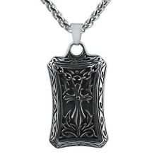 Antique Cross Dogtag Stainless Steel Silver Pendant Chain Necklace
