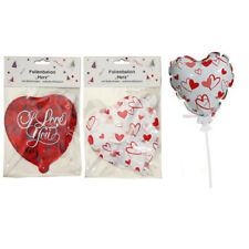 6 Heart Foil balloon I Love You and with self aufblasend m Staff white or red