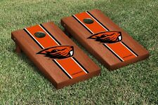 Oregon State OSU Beavers Cornhole Game Set Rosewood Stained Stripe Version