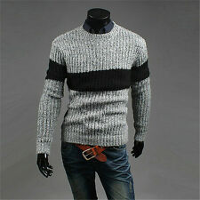 Mens Sweaters Long Sleeve Patchwork Casual Crew Neck Knitwear Pullover Tops