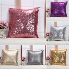 """1X SHINY HOT PURPLE GOLD SILVER SEQUINS THROW PILLOW CASES CUSHION COVERS 16"""""""