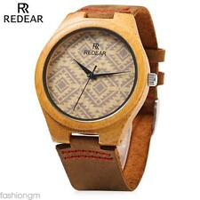 REDEAR Male Wooden Quartz Watch Leather Strap Special Pattern Dial Wristwatch