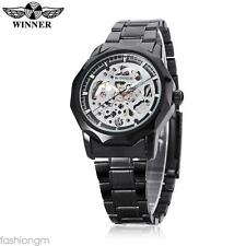 Male Auto Mechanical Watch Hollow-out Dial Stainless Steel Band Wristwatch