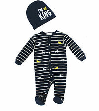 NWT Petit Lem Hat and Embroidered Lion Footie Set ~ Baby Boy Size 3M-9M