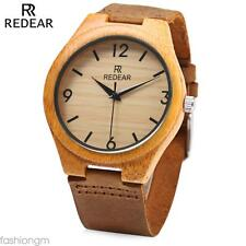 REDEAR SJ 1448 - 8 Wooden Male Quartz Watch Leather Strap Analog Wristwatch