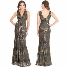 Ladies Long Gold Sequin Evening Maxi Party Dress Ball Gown Womens Size UK 8 -14