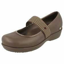 CROCS LADIES BROWN WEDGE MARY JANE SHOES - LEXI