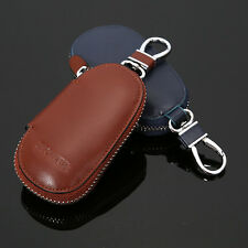 Genuine Cow Leather Auto Car Key Case Pouch Remote Keychain Key Bag Holder