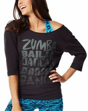 NWT Zumba Bailar Dance Longer Sleeve Tee Black Pink 3/4 Sleeve Only SMALL left