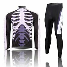 Winter Thermal Fleece Long Sleeve Cycling Jersey Tights Pants Skeleton pattern