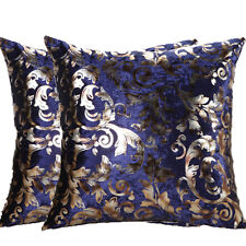 "2 x Blue Luxury Velvet Cushion Covers Throw Pillow Cases Home Decor 18""/22"""