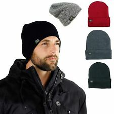 Mens Thermal Baggy Beanie slouchy winter Fleece lined Hat Skull Men Women Cap