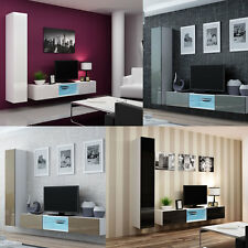 BMF VIGO GLASS 21 WALL CABINETS TV ENTERTAINMENT UNIT SET HIGH GLOSS FRONTS