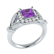 0.95ct Natural Amethyst & Certified Diamond Solid Gold Wedding Engagement Ring