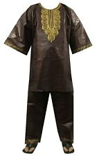Men's Dashiki African Suit Traditional Brocade Pant Set Plus Size Brown Gold04