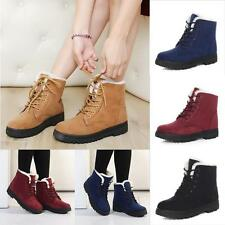 Womens Winter Warm Casual Faux Suede Fur Lace-up Ankle Snow Boots Shoes US 5-11