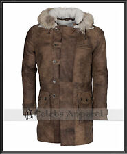 Dark Knight Rises Bane Leather Coat Hooded Fur Distressed Shearling Brown Jacket