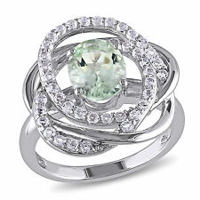 Amour Sterling Silver Green Amethyst and White Topaz Flower Ring
