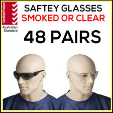 Safety Glasses 48 PAIRS Eye Protection Clear Smoke Lens Industrial AS1337 BULK