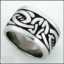 Stainless Steel Celtic Knot Wide Band Ring