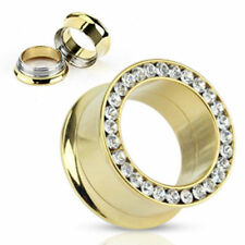 Luxury Double Flared gold Tunnel 0 3/16-1in Zirconia PIERCINGS from ALLFORYOU