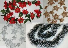 Garlands for decoration Christmas star,green with white Tips, Rattan Stars
