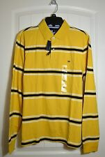 NWT MEN'S TOMMY HILFIGER YELLOW BLUE STRIPE LONG SLEEVE POLO T SHIRT SIZE M