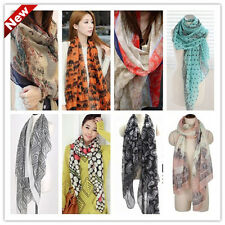 New winter fall Womens girl flowers voile Soft Long Shawl Scarf Wrap Stole 034w