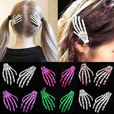 2PCS Halloween Skull Hair Clip Zombie Skeleton Hand Bone Claw Hairpin New Gift
