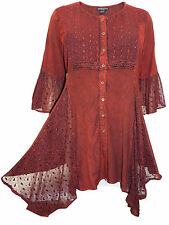 Womens plus size 26 28 30 32 top Burgundy long length romantic 3/4 sleeves lace