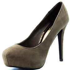 Women Breckelle Vanesa-1 Velvet Taupe High Heel Platform Pumps Dress Shoes
