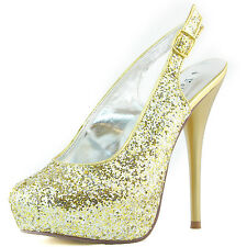 Women Platform High Heel Glitter Slingback Buckle Strap Sandals Pump Shoes