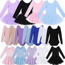 Kids Girls Long Sleeve Dance Skating Gymnastics Leotard Dress Dancer Costume