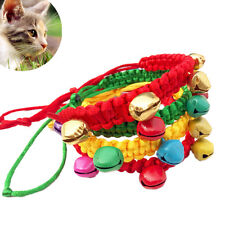 Pet Puppy Dog Cat Kitten Adjustable Collar Necklace Weave Rope With Bells NEW