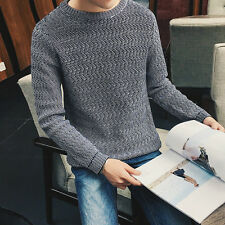 New hot sale Stylish Men Casual Slim Fit  round-neck Knitted Sweater Tops 5XL
