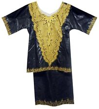 """Traditional Ethnic Clothing African Brocade Skirt Set 3Pcs Suit Black Gold 40""""ar"""